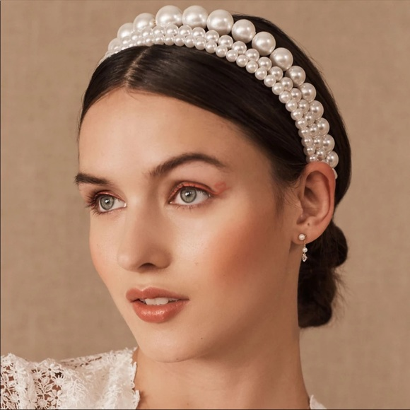 3 Piece Elegant White Pearl Headband